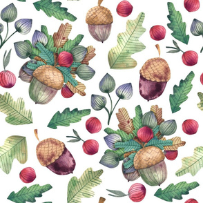 Forest bouquet of berries, acorns and oak leaves, herbs