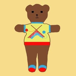 TE_55614_B Teddy bear with flying kites yellow and dark sage on rust with blue trim on white