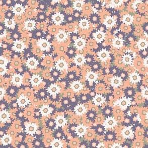 Ditsy Daisy Floral Vector Pattern Hand Drawn