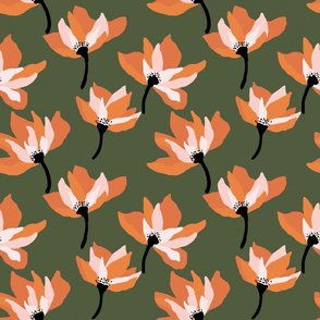 Bold orange floral on army green