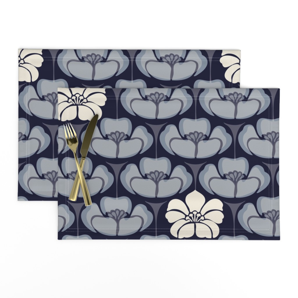 Lamona Cloth Placemats featuring 1920s Floral - Indigo by fernlesliestudio