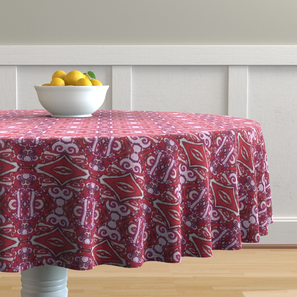 Malay Round Tablecloth featuring Cashandra, Maroon, small by palifino