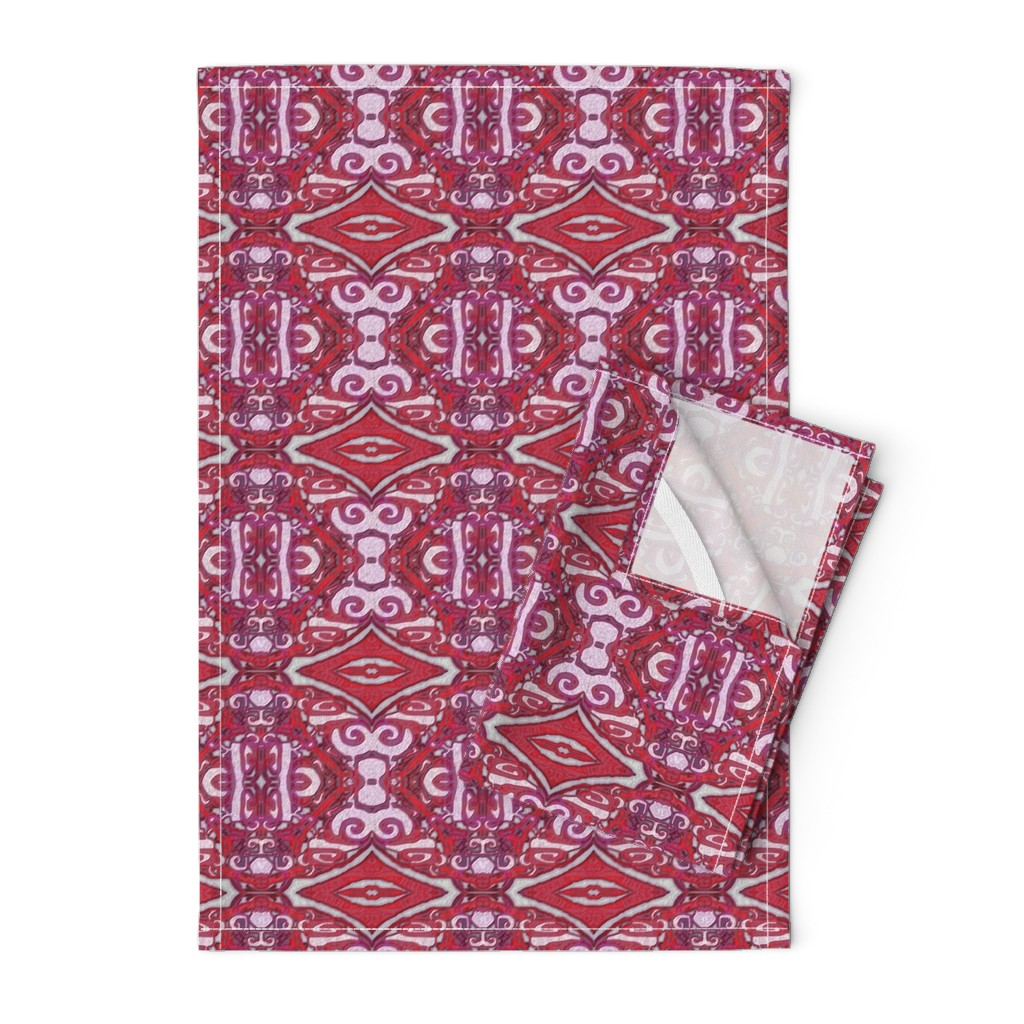 Orpington Tea Towels featuring Cashandra, Maroon, small by palifino