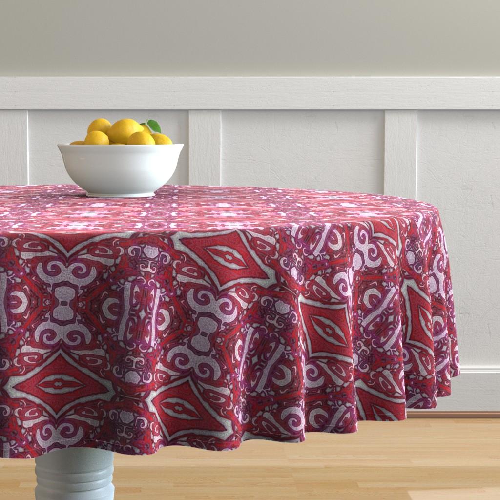 Malay Round Tablecloth featuring Cashandra, Maroon, medium by palifino