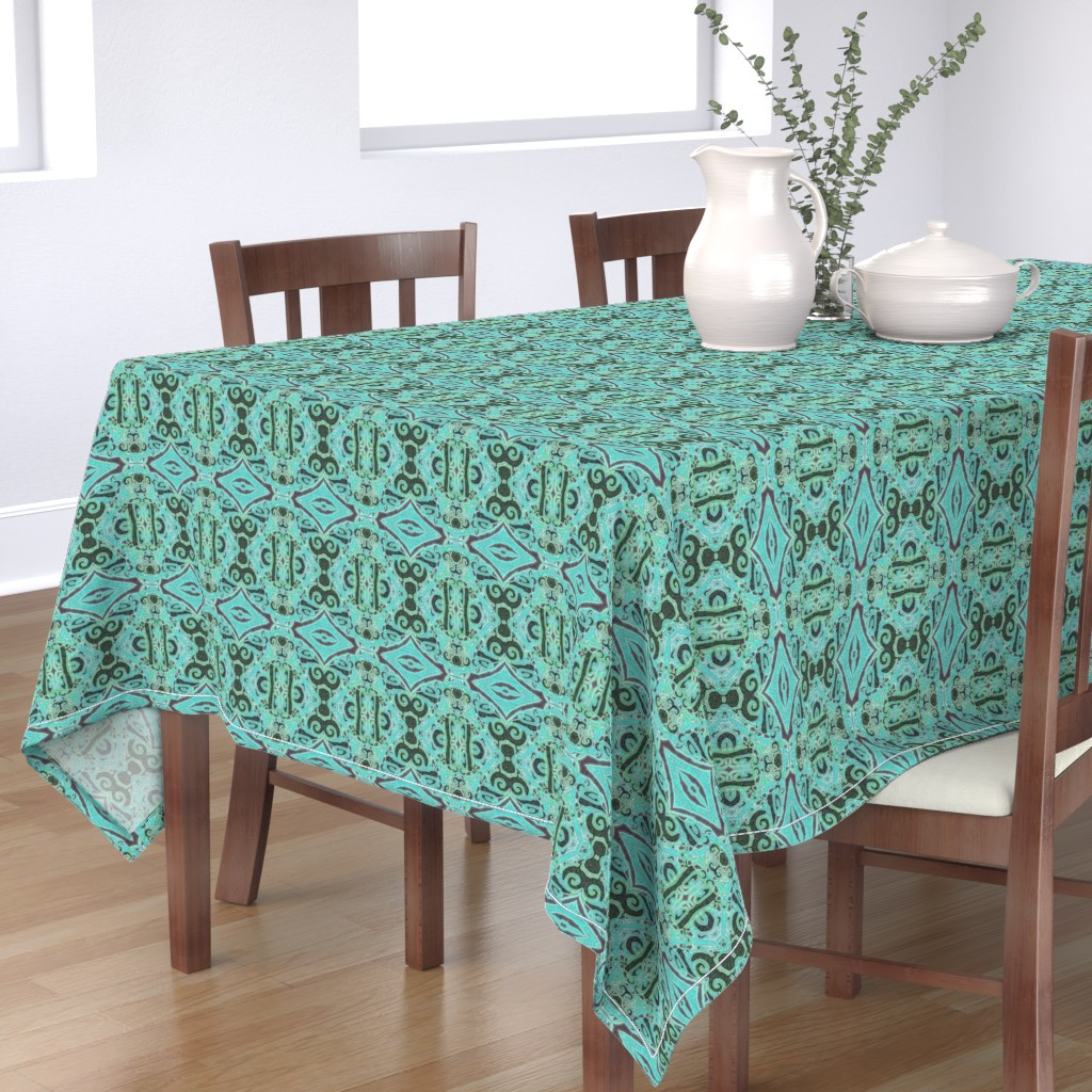 Bantam Rectangular Tablecloth featuring Cashandra, Aqua, small by palifino