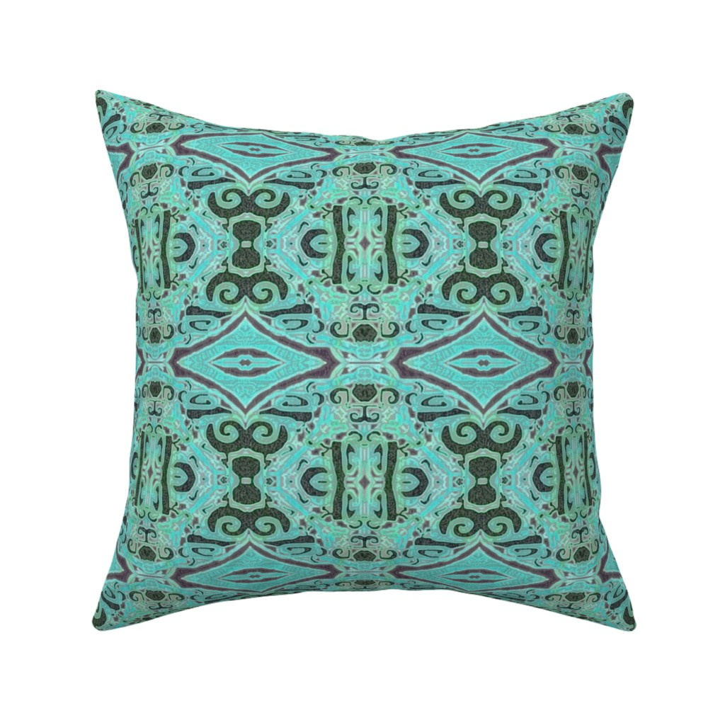 Catalan Throw Pillow featuring Cashandra, Aqua, small by palifino