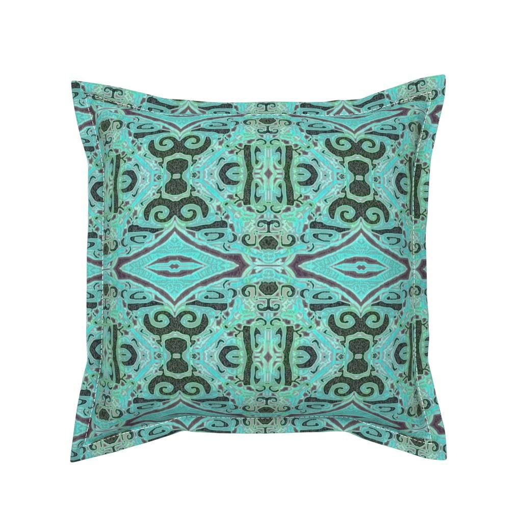Serama Throw Pillow featuring Cashandra, Aqua, medium by palifino