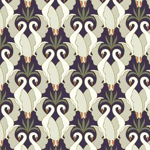 Art Deco Swans Deep Plum