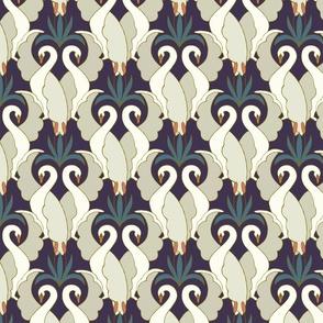 Art Deco Swans Deep Plum & Teal