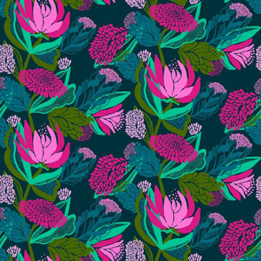 Bright coloured, multi layered floral on charcoal