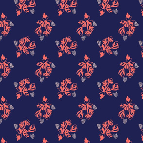 Coral ditsy floral on navy