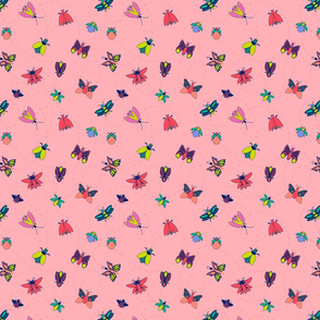 Bright Bugs and Butterflies - Pink