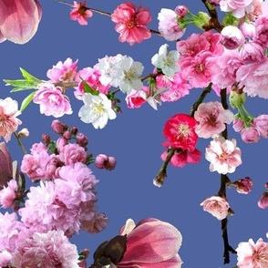 Japanese Magnolia & Cherry Blossoms Dark Blue
