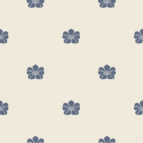 Floral Spaced - Blue, Cream