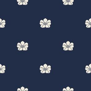 Floral Sparse - Cream, Indigo