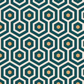 Emerald Art Deco wallpaper meandering hexagons emerald green, mustard yellow Fabric