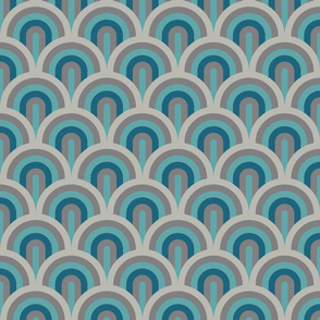 Art deco waves in brown and teal Fabric