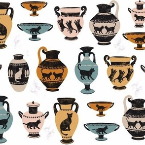Ancient Greek Cat Pottery - White by Heather Anderson