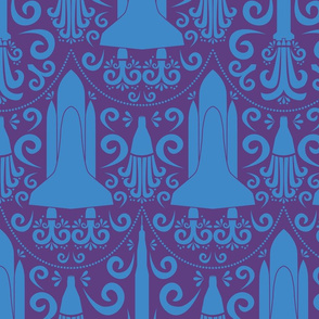 Rocket Damask (Purple and Blue Large)