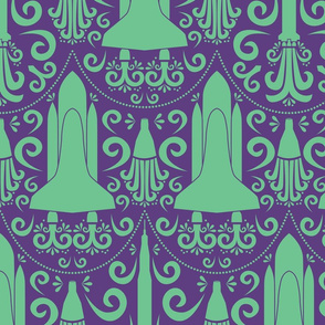 Rocket Damask (Purple and Green Large)
