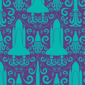 Rocket Damask (Purple and Teal Large)