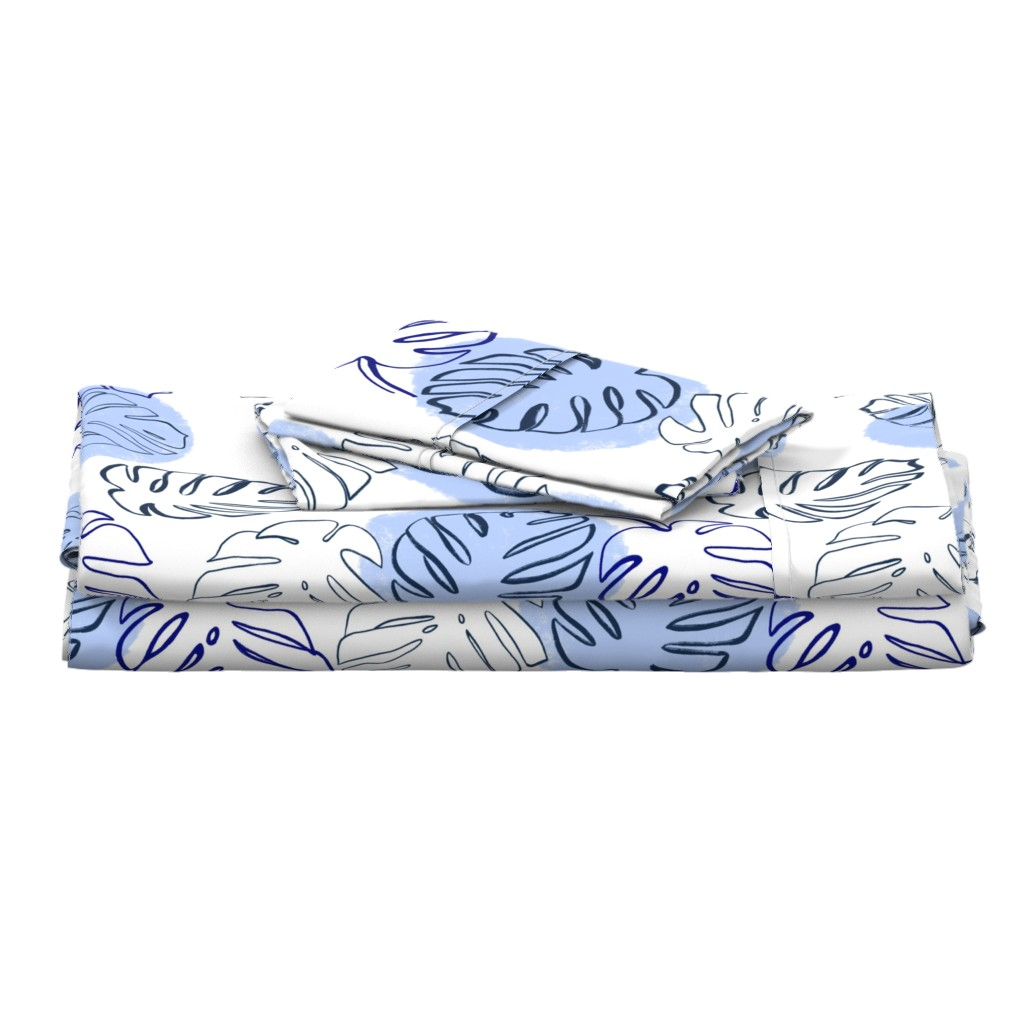 Langshan Full Bed Set featuring Monstera Leaves Soft Blue - large scale by tarareed