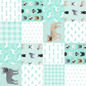 french bulldog aqua cheater quilt - dog, dogs, wholecloth, blanket, paws, dogs, bones, frenchies