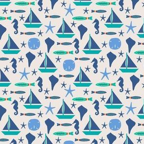 Beach Sailing Ivory Blue Small