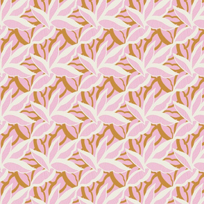 White and gold stylised leaves on pink