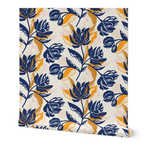 Bold Floral on Navy Blue Pouch Handmade Zipper Pouch