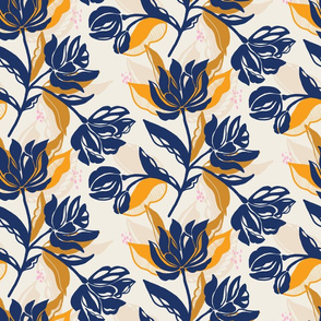 Navy blue bold floral on cream