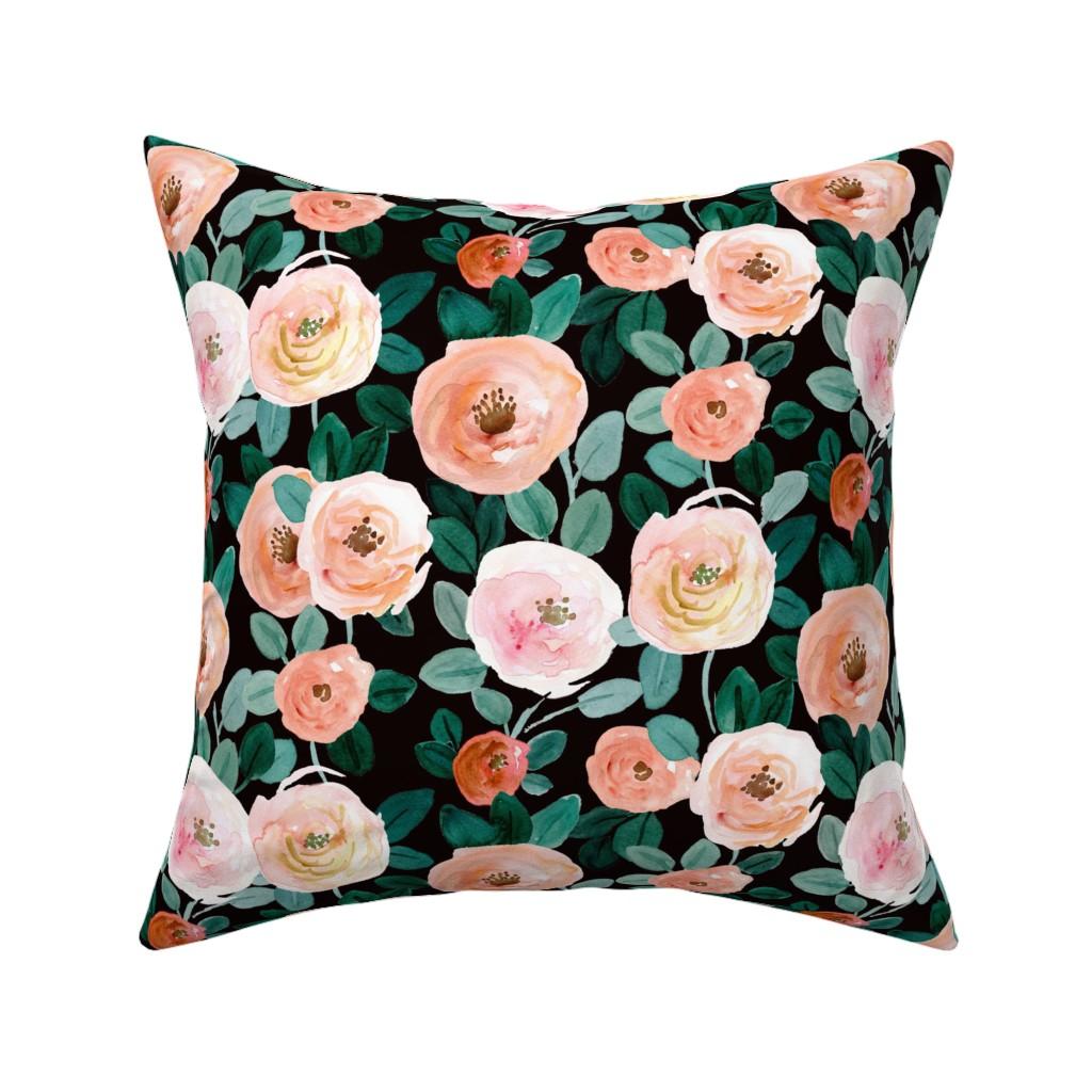 Catalan Throw Pillow featuring Jaden Rose Flora by crystal_walen