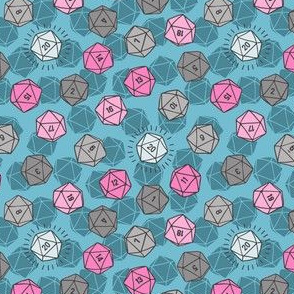 Tossed d20 in Teal & Pink