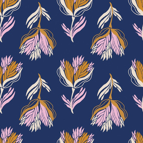 Pretty bold floral in pink and gold on navy