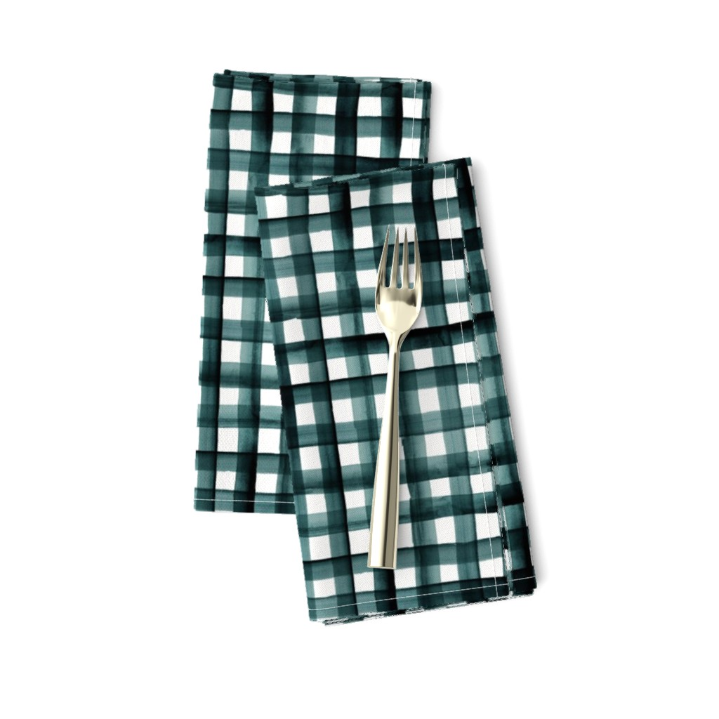 Amarela Dinner Napkins featuring watercolor plaid-teal by crystal_walen