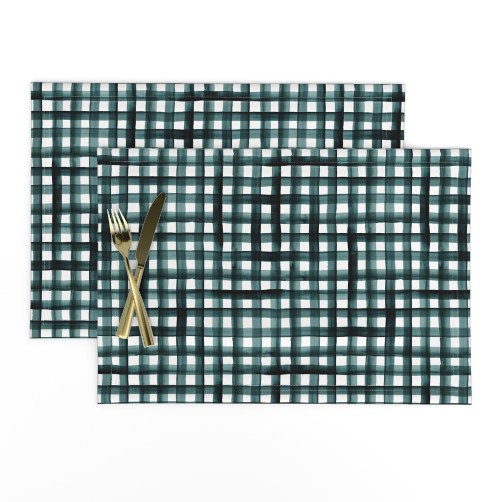 Lamona Cloth Placemats featuring watercolor plaid-teal by crystal_walen