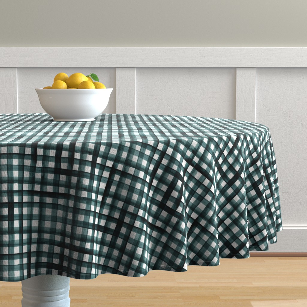 Malay Round Tablecloth featuring watercolor plaid-teal by crystal_walen