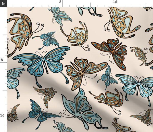 Blaue Tischdecke oder Kissenbezug Schmetterlinge