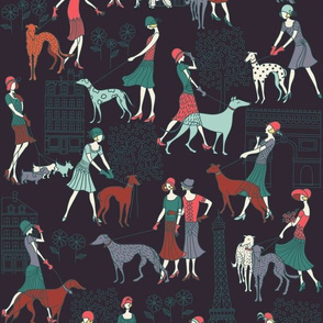 Flapper ladies and dogs