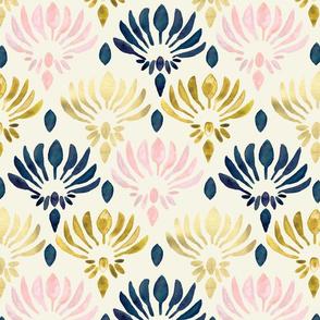 Stylized Watercolor Lotus Pattern