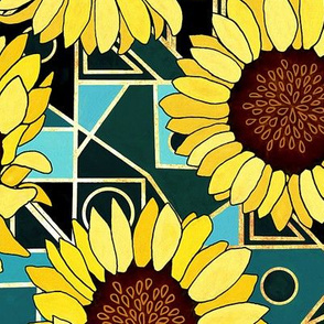 Sunflowers & Art Deco Gold & Teal Background  - Big