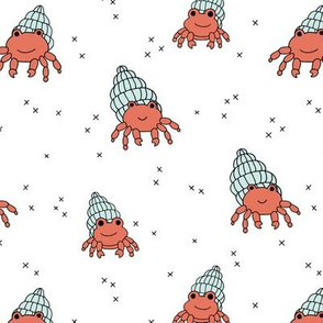 Adorable kawaii under water world lobster crab and shell illustration pattern gender neutral coral mint