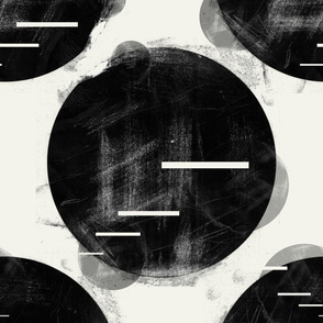 Abstract minimalist large scale dots black and white