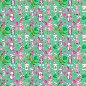PINK Winter Animals on Light Green