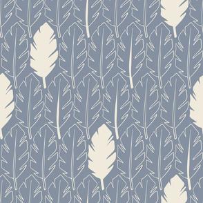 Leaves - Cream, Blue