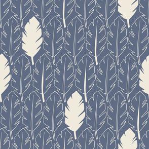 Leaves - Cream, Med Blue