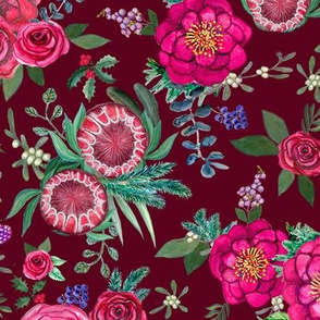 Christmas Floral Burgundy & Pink watercolor