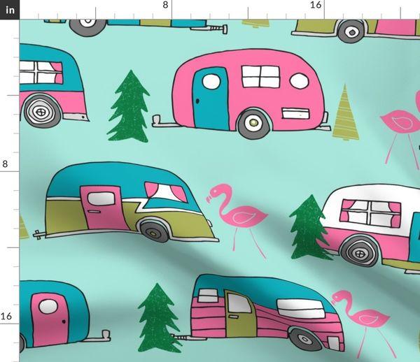 af6ed055f77e Fabric by the Yard LARGE vintage camper// mint and pink vintage campervan  fabric cute retro flamingo pattern print andrea lauren design