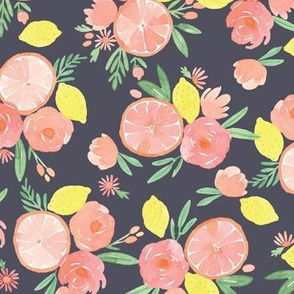Pink Citrus on Navy