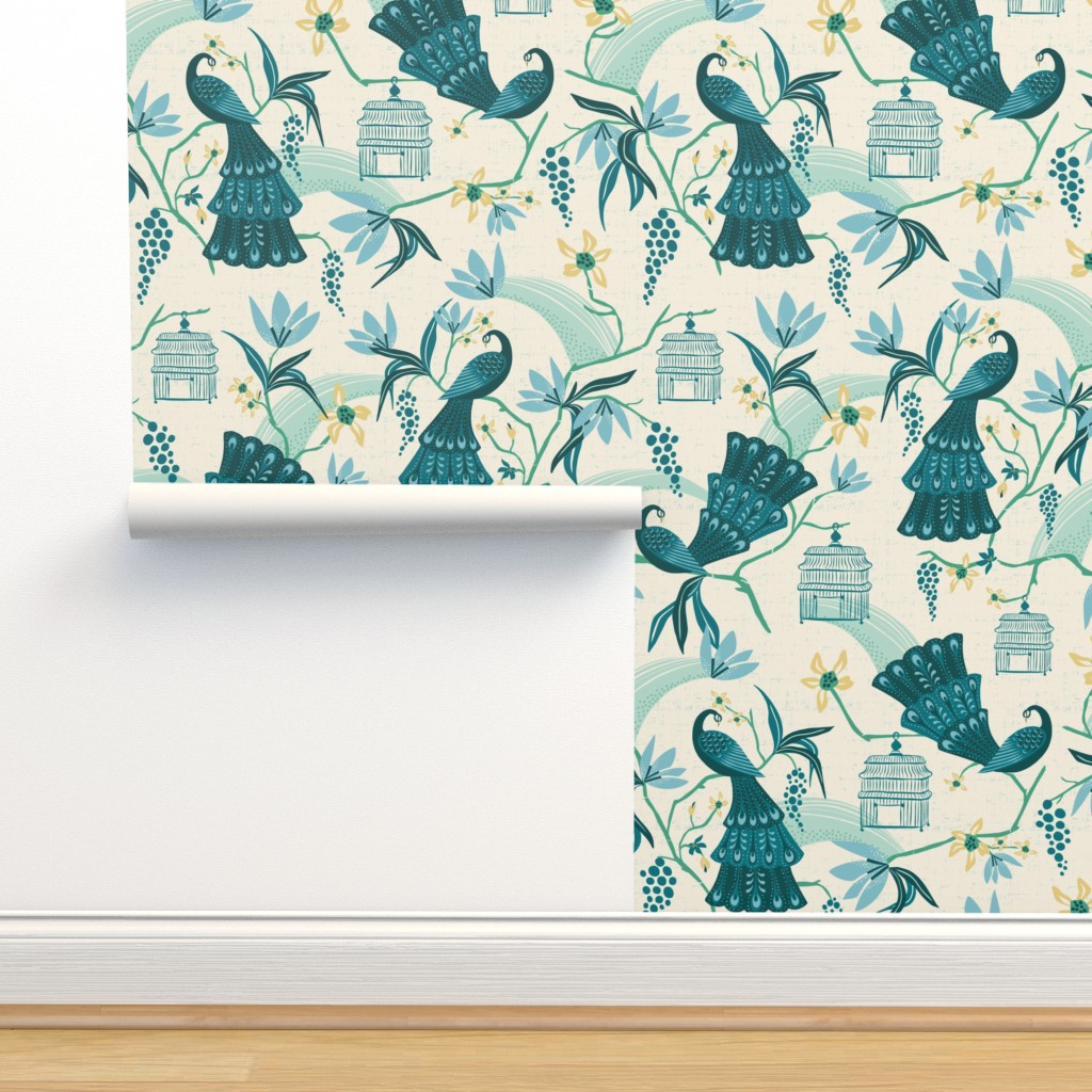 Isobar Durable Wallpaper featuring Aviary  - Peacock Chinoiserie Cream Jumbo Scale by heatherdutton
